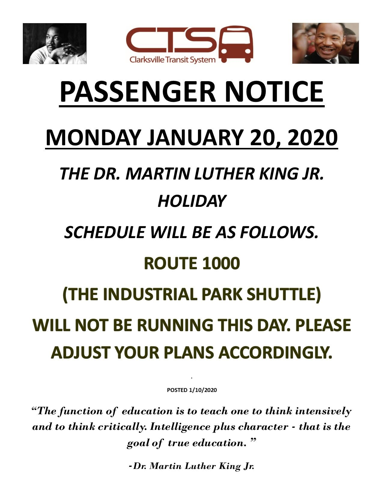 Martin Luther King Jr. schedule 2020