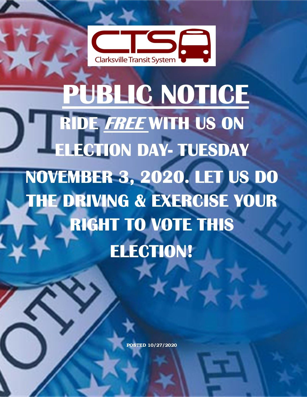 ELECTION DAY FREE RIDE 2020